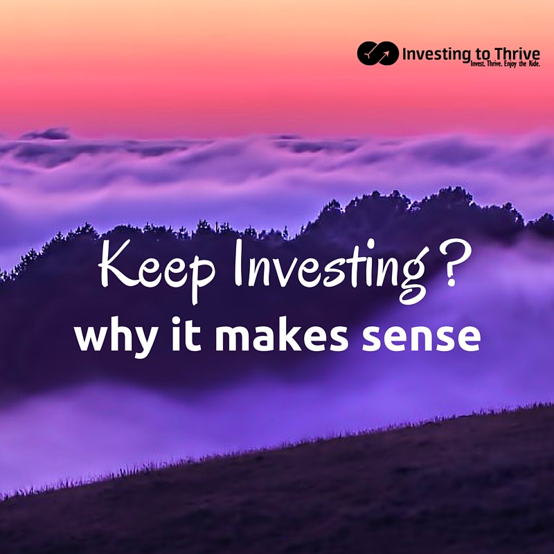 When the market is volatile, I may wonder if I should keep investing. Then I look at the math to see how investing in down times can be rewarding.