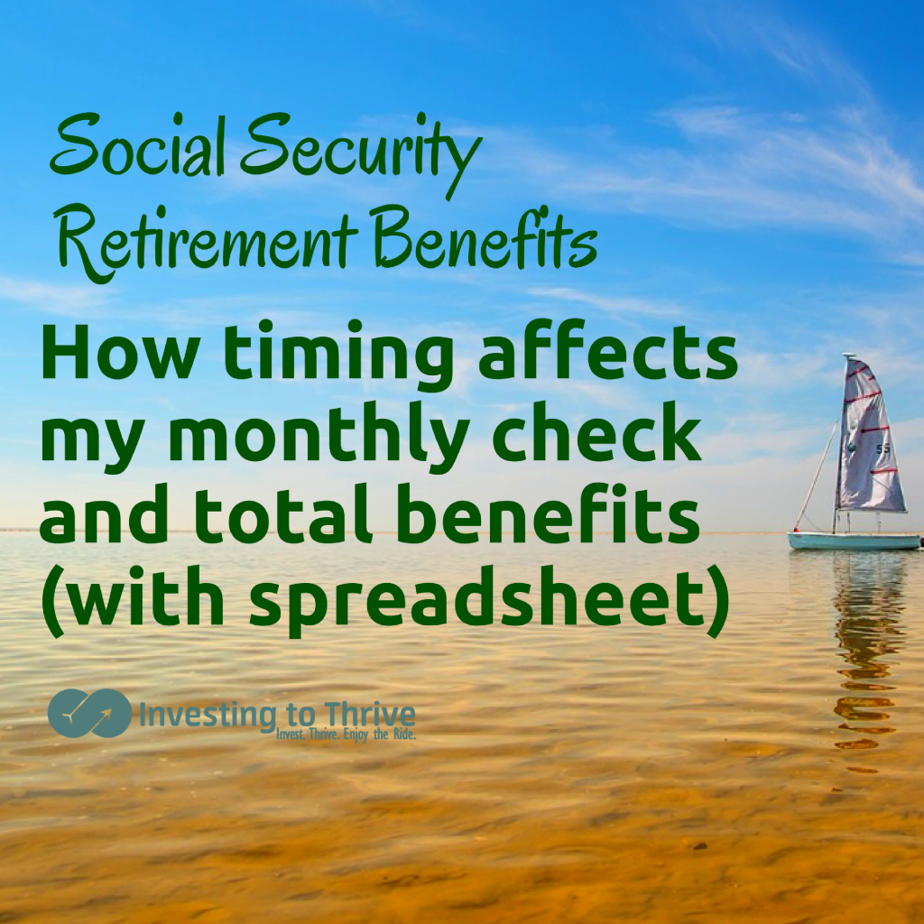 When I start Social Security retirement benefits affects the amount of my monthly paycheck. Here's a spreadsheet to see how timing affects long-term wealth.