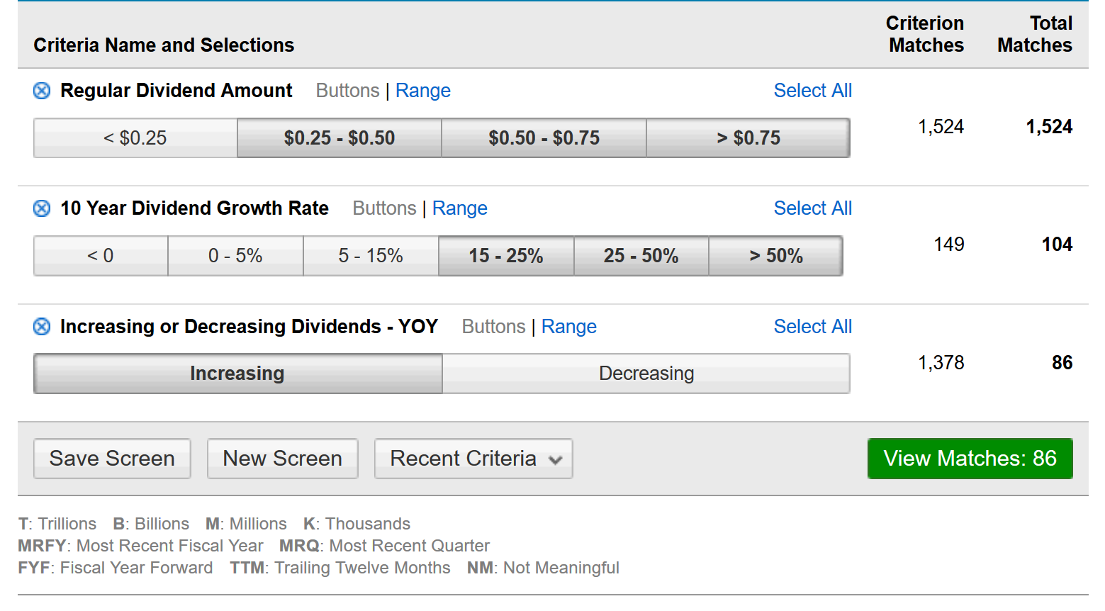screener example for find dividend stocks
