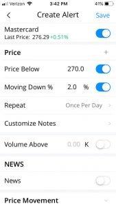 Webull Investing App alert