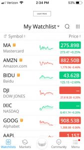 screenshot of watchlist